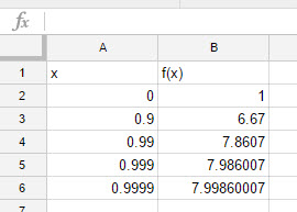 Make a Table of Values in Google Sheets