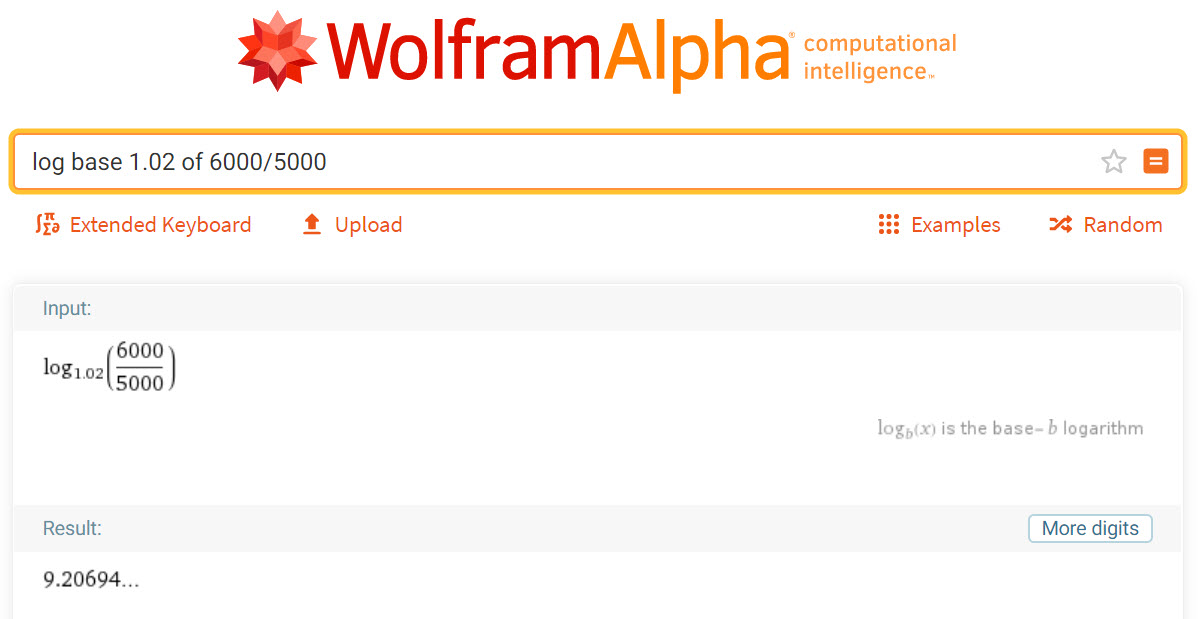 logarithm base 1.02 of 6000 divided by 5000 in WolframAlpha